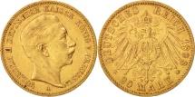 German States, PRUSSIA, Wilhelm II, 20 Mark, 1898, Berlin, EF(40-45), Gold