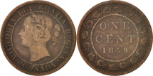 World Coins - Canada, Victoria, Cent, 1859, Royal Canadian Mint, Ottawa, VF(20-25), Bronze