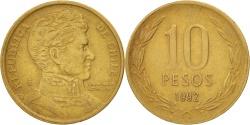 World Coins - Chile, 10 Pesos, 1992, Santiago, , Aluminum-Bronze, KM:228.2