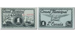 World Coins - Banknote, Spain, ESCALA, 1 Peseta, bateau, 1937, 1937, UNC(64)