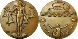 World Coins - France, Medal, Art Déco, La Mer, Shipping, Guiraud, , Bronze