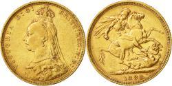 World Coins - Coin, Australia, Victoria, Sovereign, 1889, Melbourne, EF(40-45), Gold, KM:10
