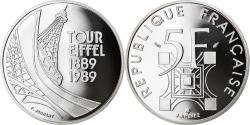 World Coins - Coin, France, Tour Eiffel, 5 Francs, 1989, Proof / BE, , Silver