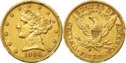 Us Coins - Coin, United States, Coronet Head, $5, Half Eagle, 1906, U.S. Mint, San