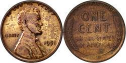 Us Coins - United States, Lincoln Cent, Cent, 1951, U.S. Mint, Philadelphia,