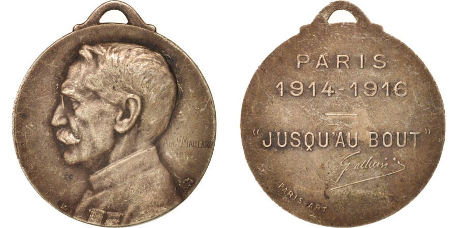 World Coins - France, Medal, Gallieni, History, 1916, Maillart, , Bronze, 28