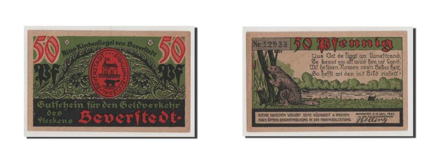 World Coins - Germany, Beverstedt Gemeinde, 50 Pfennig, 1922, UNC(64), 12933, Mehl #98.1