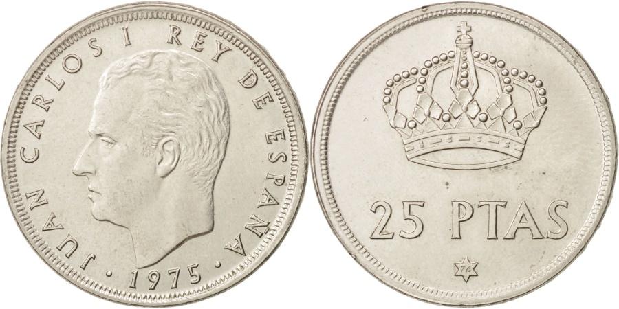 World Coins - Spain, Juan Carlos I, 25 Pesetas, 1975, , Copper-nickel, KM:808