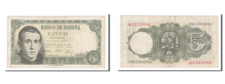 World Coins - Spain, 5 Pesetas, 1951, KM #140a, 1951-08-16, EF(40-45), Q4184086