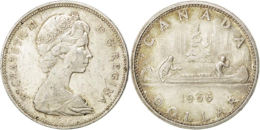 World Coins - CANADA, Dollar, 1966, Royal Canadian Mint, KM #64.1, , Silver, 36,...
