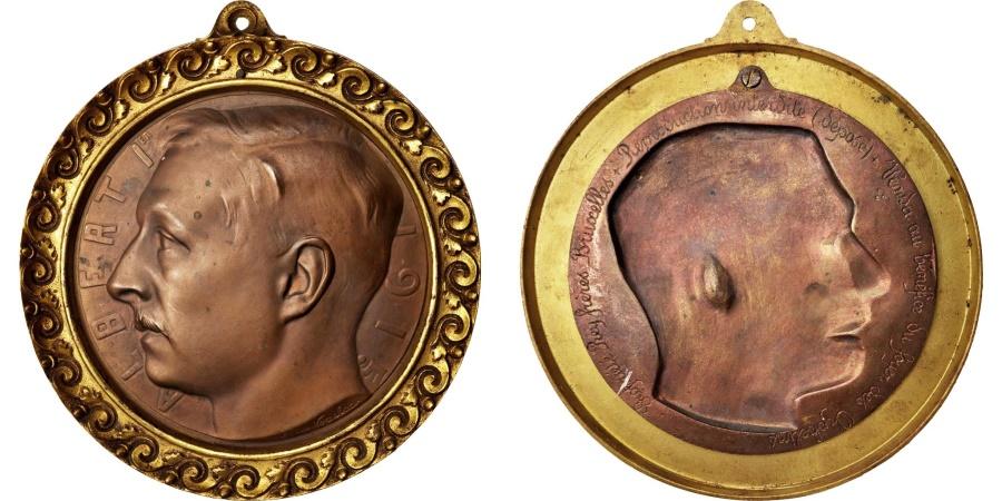World Coins - Belgium, Medal, Albert Ier de Belgique, History, 1915, Léon Vogelaar