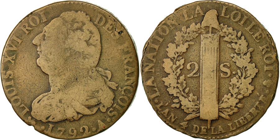 World Coins - Coin, France, 2 sols françois, 2 Sols, 1792, Paris, VF(30-35), Bronze