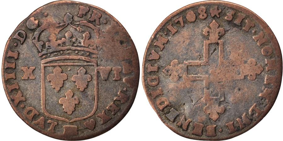 World Coins - FRANCE, XVI Deniers de Strasbourg, 16 Deniers, 1698, Strasbourg, KM #311,...