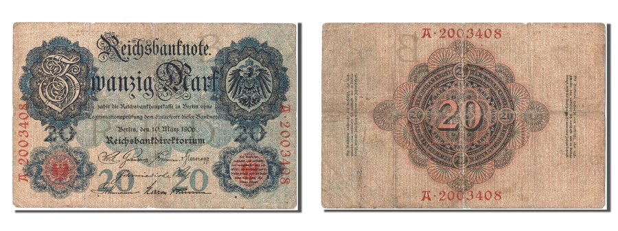 World Coins - Germany, 20 Mark, 1906, KM #25b, 1906-03-10, VF(30-35), A.2003408