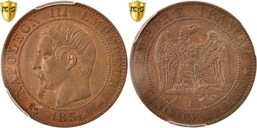 World Coins - Coin, France, Napoleon III, Napoléon III, 5 Centimes, 1856, Bordeaux, PCGS