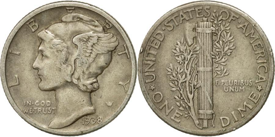 US Coins - Coin, United States, Mercury Dime, Dime, 1938, U.S. Mint, Philadelphia