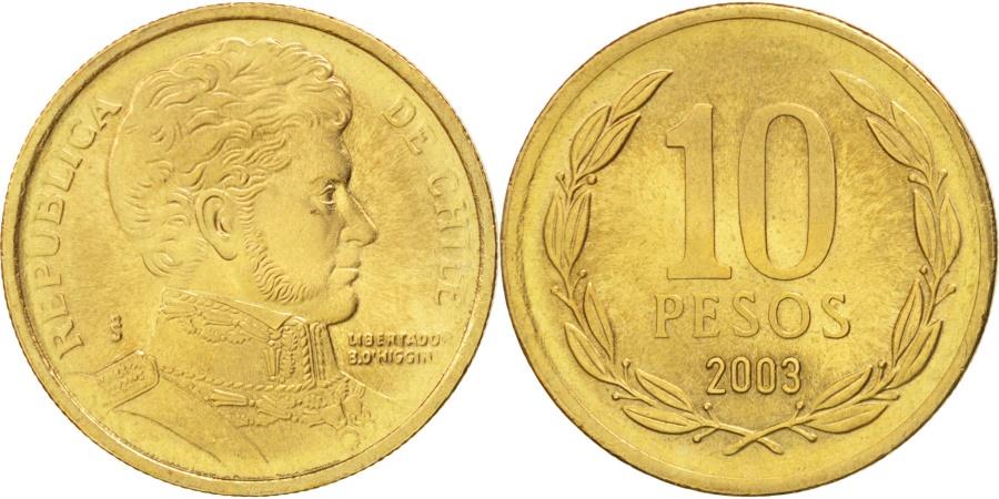 World Coins - Chile, 10 Pesos, 2003, Santiago, , Aluminum-Bronze, KM:228.2