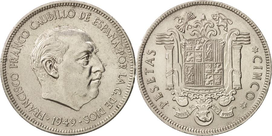 World Coins - Spain, Caudillo and regent, 5 Pesetas, 1949, , Nickel, KM:778