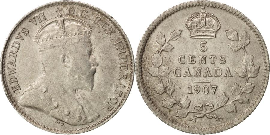 World Coins - Canada, Edward VII, 5 Cents, 1907, Royal Canadian Mint, Ottawa,