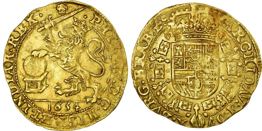 World Coins - Coin, Spanish Netherlands, BRABANT, Souverain Ou Lion D'or, 1654, Brussels