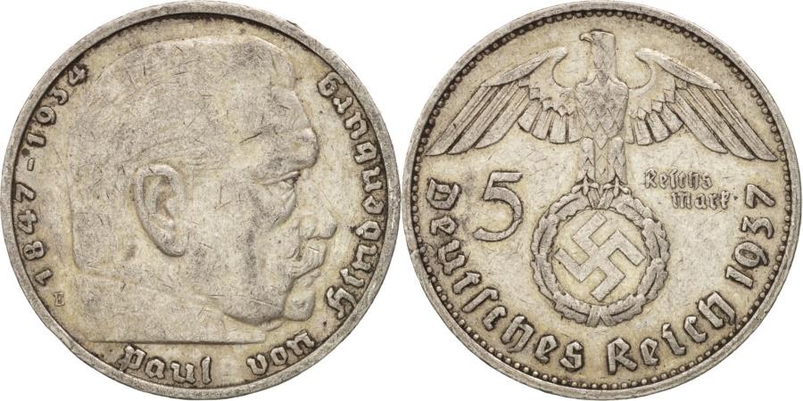 World Coins - GERMANY, THIRD REICH, 5 Reichsmark, 1937, Muldenhütten, , KM:94