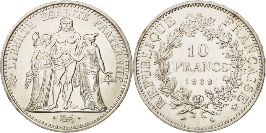 World Coins - France, Hercule, 10 Francs, 1969, Paris, , Silver, KM:932, Gadoury:813