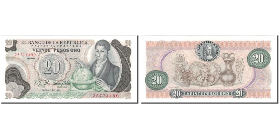 World Coins - Banknote, Colombia, 20 Pesos Oro, 1982-01-01, KM:409d, UNC(65-70)