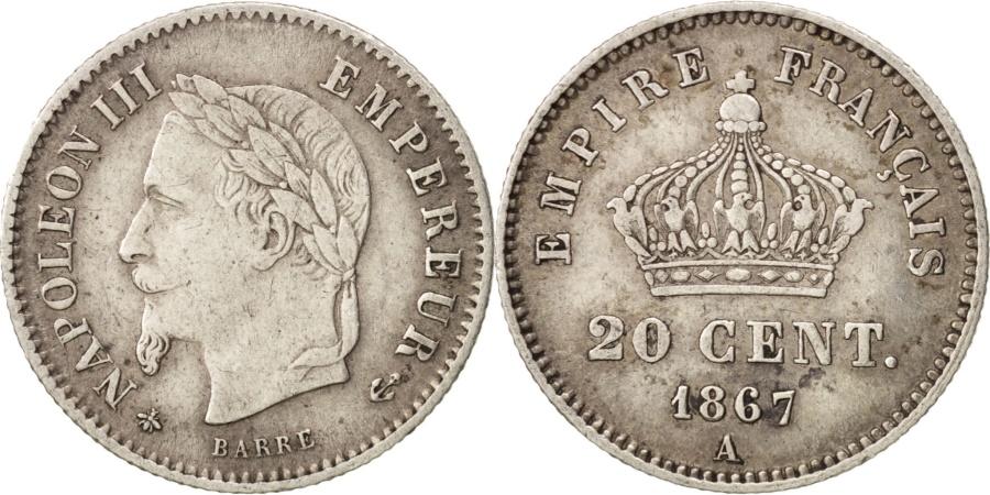 World Coins - France, Napoleon III, Napoléon III, 20 Centimes, 1867, Paris,