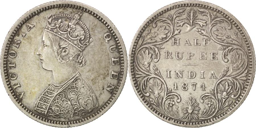 World Coins - INDIA-BRITISH, 1/2 Rupee, 1874, KM #472, , Silver, 5.78