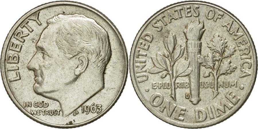 US Coins - Coin, United States, Roosevelt Dime, Dime, 1963, U.S. Mint, Denver,