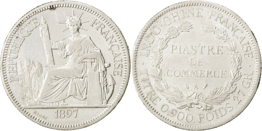 World Coins - FRENCH INDO-CHINA, Piastre, 1897, Paris, KM #5a.1, , Silver, Lecompte..