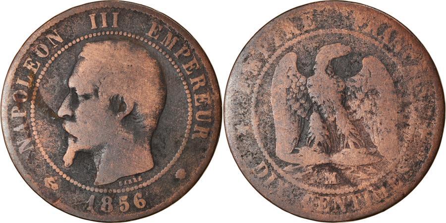 World Coins - Coin, France, Napoleon III, Napoléon III, 10 Centimes, 1856, Marseille