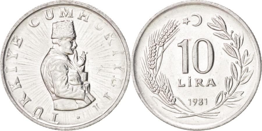 World Coins - TURKEY, 10 Lira, 1981, KM #945, , Aluminum