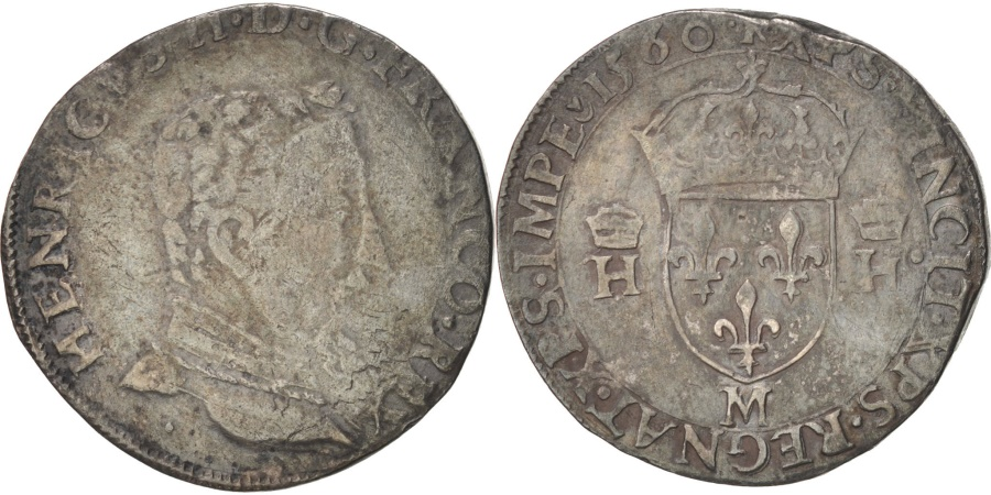 World Coins - FRANCE, Teston, 1560, Toulouse, , Silver, Duplessy #1031, 9.23