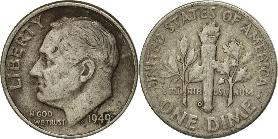 US Coins - Coin, United States, Roosevelt Dime, Dime, 1949, U.S. Mint, Denver,