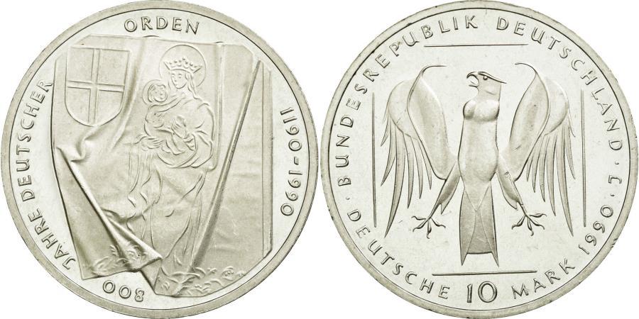 World Coins - Coin, GERMANY - FEDERAL REPUBLIC, 10 Mark, 1990, Hamburg, Germany, MS(65-70)
