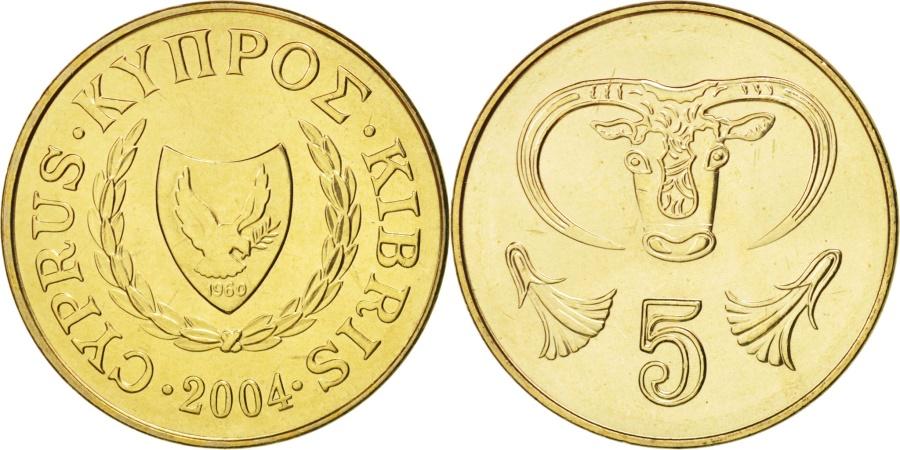 World Coins - Cyprus, 5 Cents, 2004, , Nickel-brass, KM:55.3