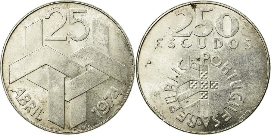World Coins - Coin, Portugal, 250 Escudos, 1974, , Silver, KM:604