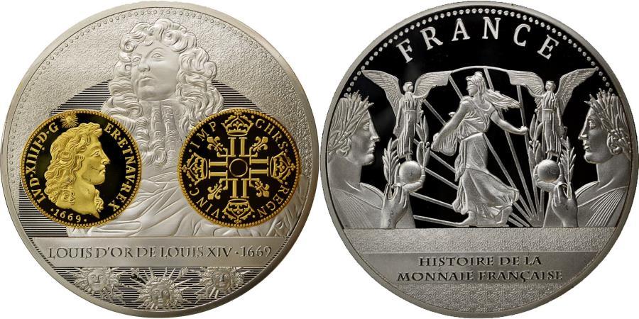 US Coins - France, Medal, Histoire de la monnaie Française, Louis d'or de Louis XIV