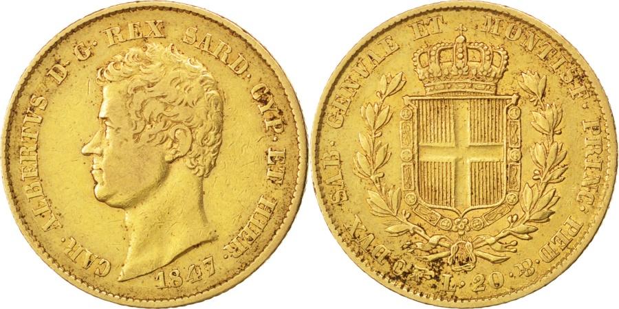 World Coins - ITALIAN STATES, 20 Lire, 1847, Torino, KM #131.1, , Gold, 21, 6.41