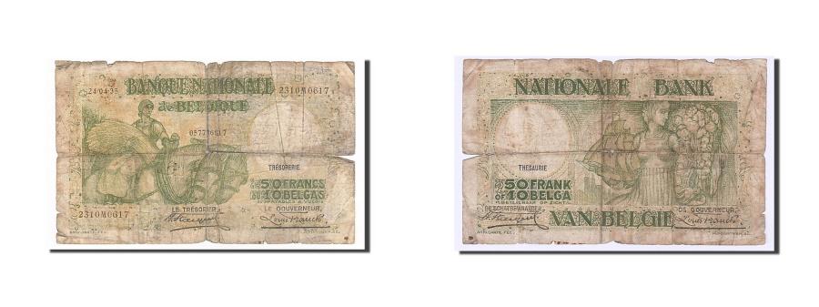 World Coins - Belgium, 50 Francs-10 Belgas, 1935, KM #106, 1935-04-24, VG(8-10), 2310M0617