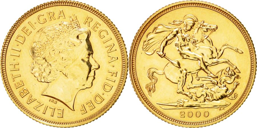 World Coins - Coin, Great Britain, Elizabeth II, Sovereign, 2000, , Gold, KM:1002