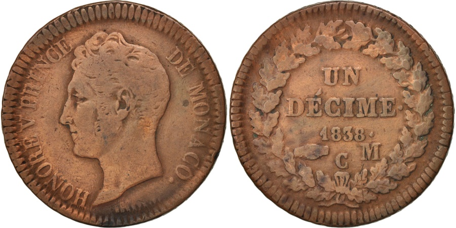 World Coins - Monaco, Honore V, Decime, 1838, Monaco, , Copper, KM:97.1, Gadoury:105