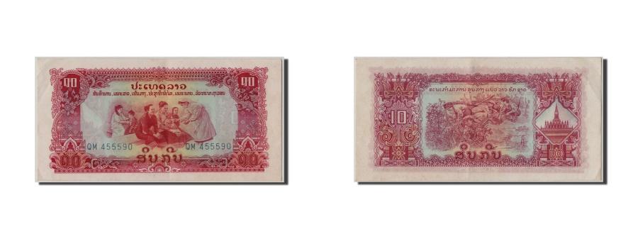 World Coins - Lao, 10 Kip, KM #20a, UNC(60-62), QM 455590
