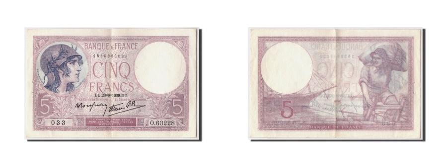 World Coins - France, 5 Francs 1917-1940 ''Violet'',KM:83,1939-09-28, AU(55-58)