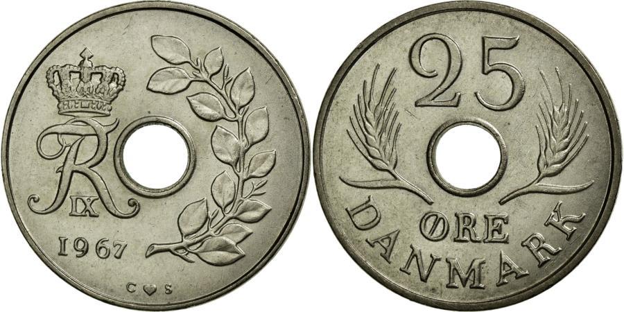 World Coins - Coin, Denmark, Frederik IX, 25 Öre, 1967, AU(55-58), Copper-nickel, KM:855.1