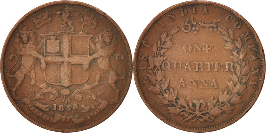 World Coins - INDIA-BRITISH, 1/4 Anna, 1858, , Copper, KM:463.1