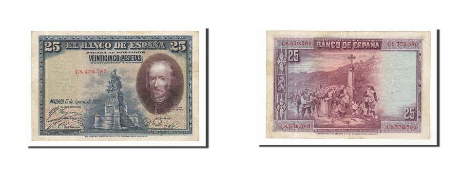 World Coins - Spain, 25 Pesetas, 1928, KM #74b, 1928-08-15, EF(40-45), C8339580