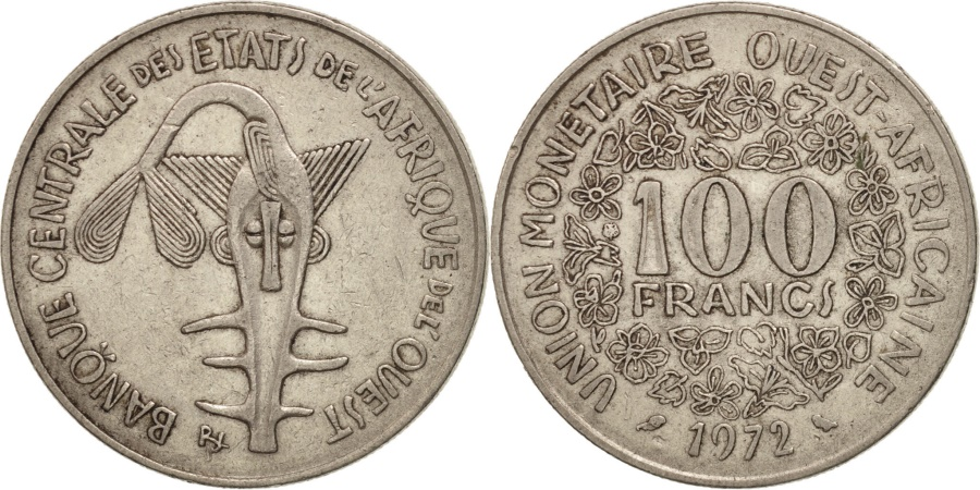 World Coins - West African States, 100 Francs, 1972, , Nickel, KM:4