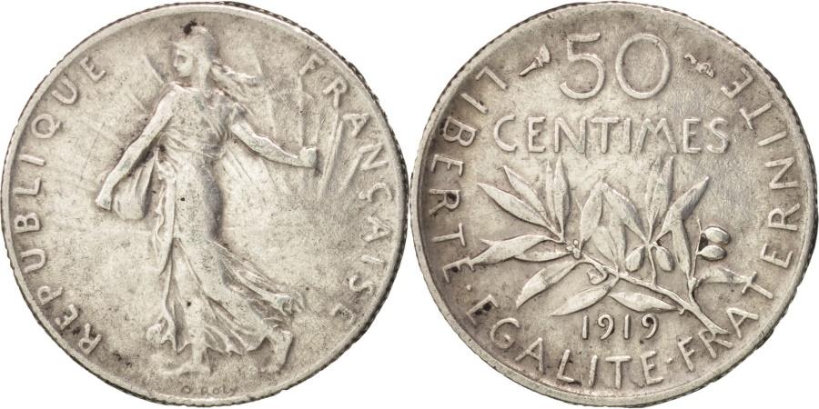 World Coins - France, Semeuse, 50 Centimes, 1919, Paris, , Silver, KM:854